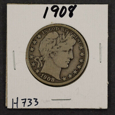 1908 50c SILVER BARBER HALF DOLLAR LOT#H733