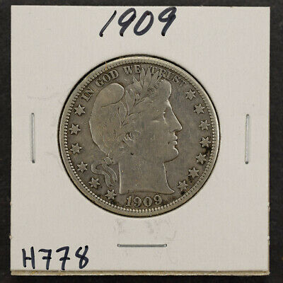 1909 50c SILVER BARBER HALF DOLLAR LOT#H778