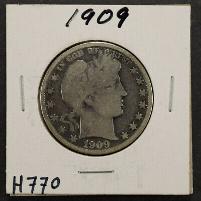 1909 50c SILVER BARBER HALF DOLLAR LOT#H770