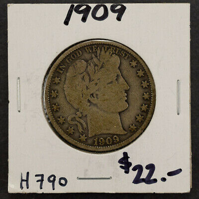 1909 50c SILVER BARBER HALF DOLLAR LOT#H790