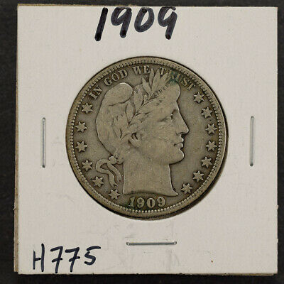 1909 50c SILVER BARBER HALF DOLLAR LOT#H775