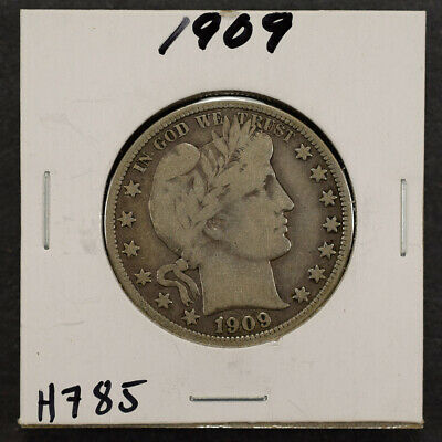 1909 50c SILVER BARBER HALF DOLLAR LOT#H785