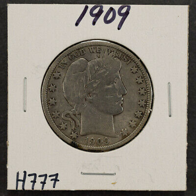 1909 50c SILVER BARBER HALF DOLLAR LOT#H777