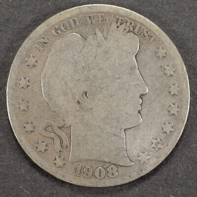 1908-S 50c SILVER BARBER HALF DOLLAR LOT#H767