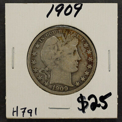 1909 50c SILVER BARBER HALF DOLLAR LOT#H791