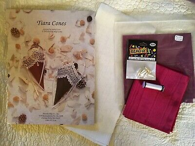 Hardanger Pattern Tiara Cones by Janice Love With Fabric Thread Beads NEW