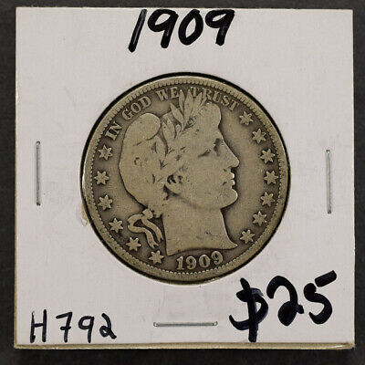 1909 50c SILVER BARBER HALF DOLLAR LOT#H792