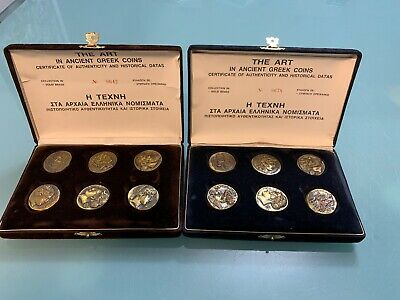 The Art In Ancient Greek Coins With Certificate, Made In Solid Brass 2 Sets