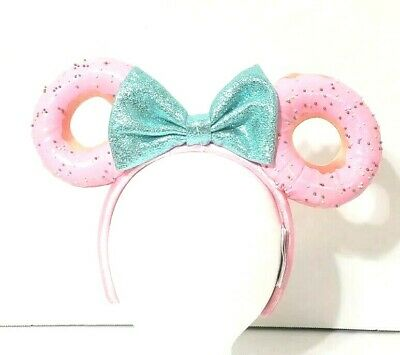 Disney Parks Foodie Minnie Mouse Glitter Teal Bow Sprinkle Donut Ears Headband