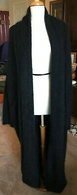 LAINEY KEOGH Long Navy Coat Oversized Unstructured Versatile Cashmere Mohair