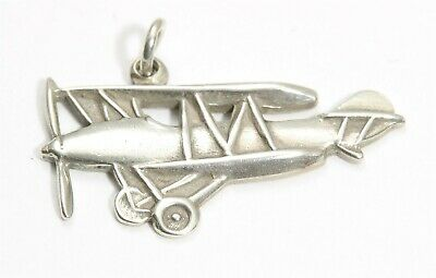 Vintage SOLID Sterling Silver Small Antique Biplane Plane Charm Pendant 925