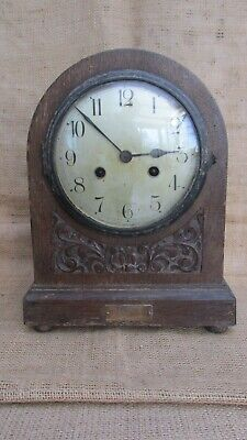 Antique Oak Cased Mantle Clock - Runs but sold for spare parts / repairs