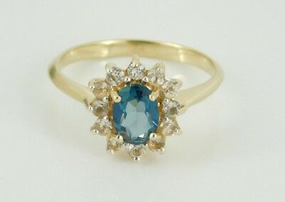 14k Yellow Gold Blue Spinel & White Topaz Ring Size 7
