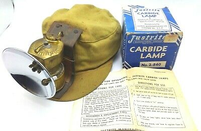 Vintage Justrite #2-840 Carbide Lamp with Box/Instructions and Canvas Cap #5-244