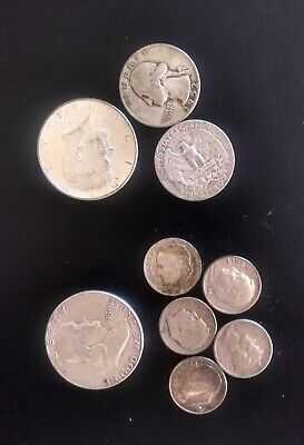 Old US Silver coins silver quarters, dimes, half $1 face value Lot of 90% Silver