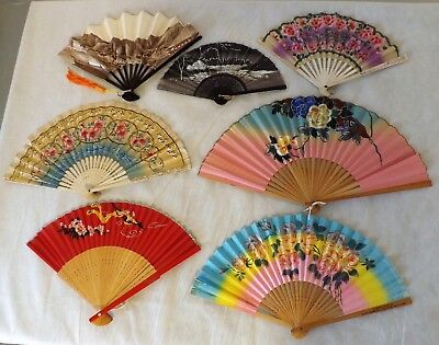 Lot of 7 Hand Fans Hand Painted Vintage Collector's Estate 2 Rare Advertising