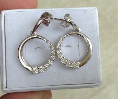 Solid 14k White Gold Diamond Earrings with .40tcw diamonds   .. Lot#357