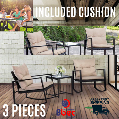 New 3 Pieces Patio Bistro Set Rocking Chairs Outdoor Rattan Furniture For Yard