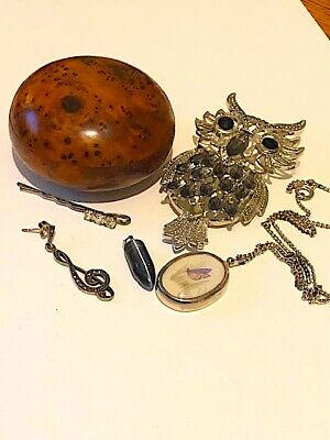 Mixed lot of vintage costume jewelley, other items, spares. Fabulous owl...