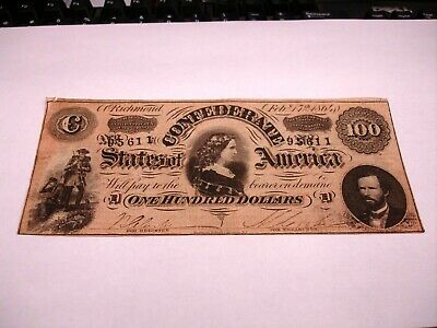 1864 $100 Confederate States Of America Note Richmond T-65 Nice Note