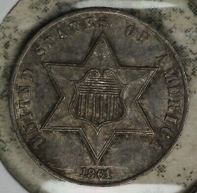 Nice 1861 Three Cent Silver - XF/AU Details - Light Scratches by Date