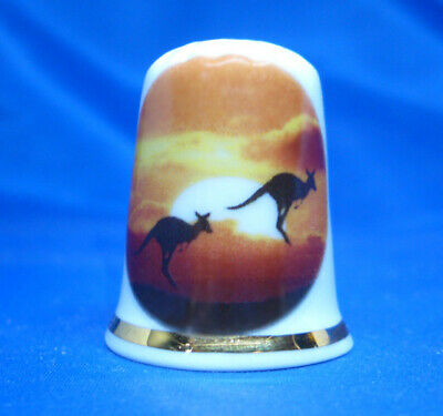 Birchcroft Porcelain China Thimble - Kangeroo Sunrise -- Free Gift Box