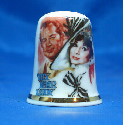 Fine Porcelain China Thimble - Audrey Hepburn My Fair Lady -- Free Gift Box