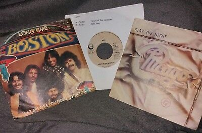 """3 x 7"""" :  BOSTON : LONG TIME + ASIA : HEAT OF + CHICAGO : STAY THE NIGHT (Vinyl)"""