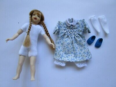 1:12 scale dollhouse 4 inch girl doll with red braids & freckles + clothes set
