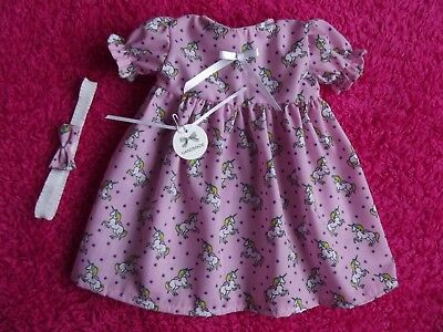 """Unicorn Dress Set To Fit 18"""" Baby Annabell Doll Or Reborn Baby 18"""" Doll Clothes"""