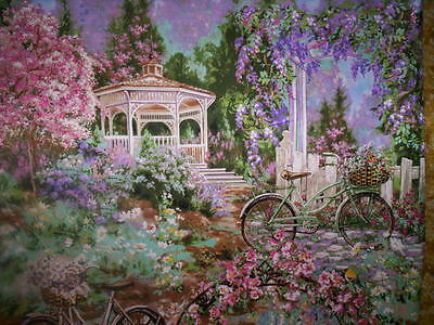 1 panel FLOWER MARKET  by TIMELESS TREASURES Scenic Gazebo bicycles flowers