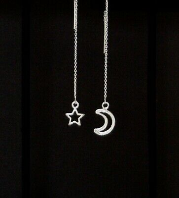 """IAJ"" MOON & STAR STERLING SILVER Ear Threads Threader Earrings"