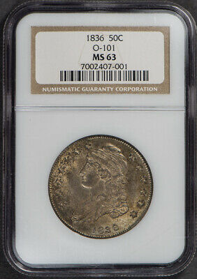 1836 50c CAPPED BUST HALF (0-101) RARE UNCIRCULATED COIN *NGC MS63* LOT#E761