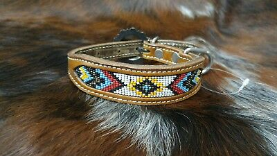 New Leather Beaded Western Dog Collar Size Small