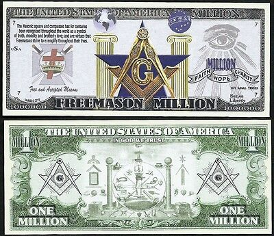 Free Mason Symbols Million Dollar Masonic Square & Compass - Lot of 2 BILLS