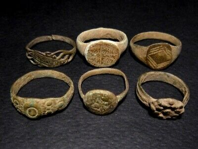 LOT of 6 pcs. ANCIENT ROMAN, BYZANTINE AND MEDIEVAL FINGER RINGS!!!