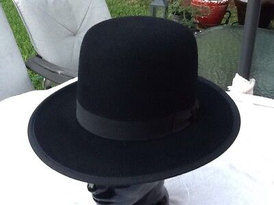 5b9135acf3c New Old Stock Beaver Brand 5X Beaver Frontiersman Black Hat Finished Edge  Size 7
