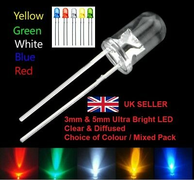 LED 3mm 5mm Diffused / Clear Light Emitting Diode Red White Blue Green Yellow UK