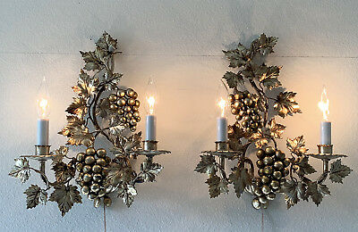 2 Italian Gilt Tole Sconces Hollywood Regency Wall Lights w Grapes