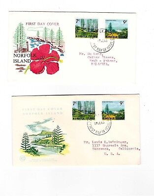 Norfolk Island 1965 7c & 9c Views on FDCs               ( 2 Covers )