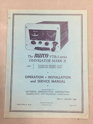 Vintage Narco Vtr-2 Series Omnigator Mark Ii Operation Install & Service Manual