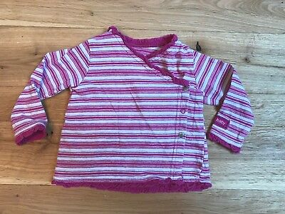 DKNY Pink and Gray Striped Baby Wrap Shirt, Size 6/9 M