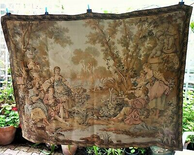 Gorgeous & Large,  Vintage French Wall Tapestry - Romantic Pastoral Scene.