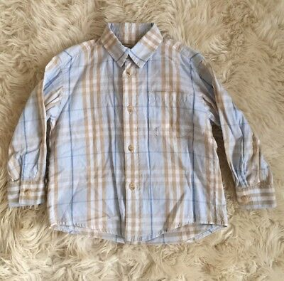 Aunthentic Burberry Baby Toddler Boy Blue Check Plaid Dress Shirt Top 2-3Y 2T-3T