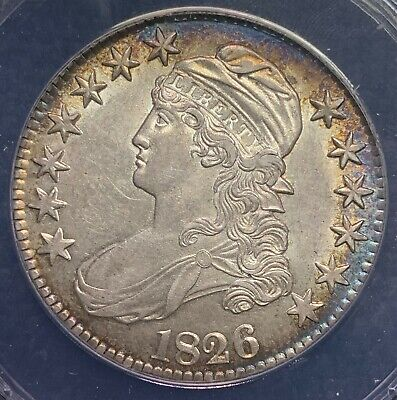 1826 50C Toned Capped Bust Half Dollar | ANACS Certified AU55 Details