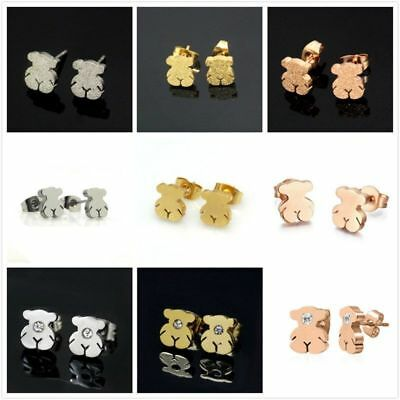 Fashion Woman Cute Gold Bear Pierced Pendant Ear Stud Earrings Jewelry Present