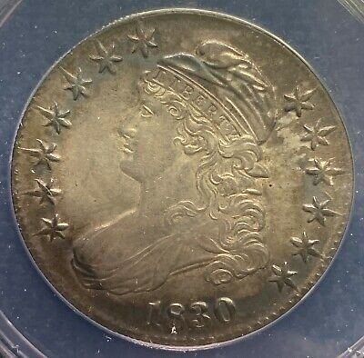 1830 50C Toned Capped Bust Half Dollar | ANACS Certified AU55 Details