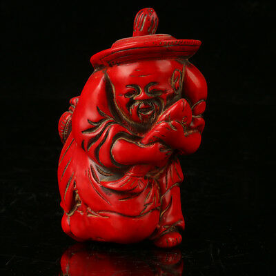 China Exquisite Red Coral Hand Carved Fisherman Snuff Bottle    A767