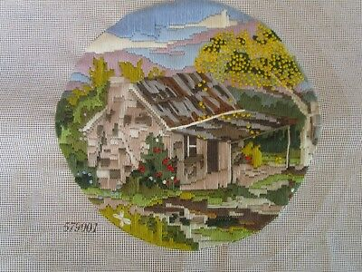 Completed Long Stitch  Of A Cabin & A Wattle Tree. 28 Cms Round. No. 579001