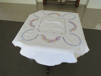 Colourful Embroidered White Scalloped Table Cloth/Topper - Excellent Condition